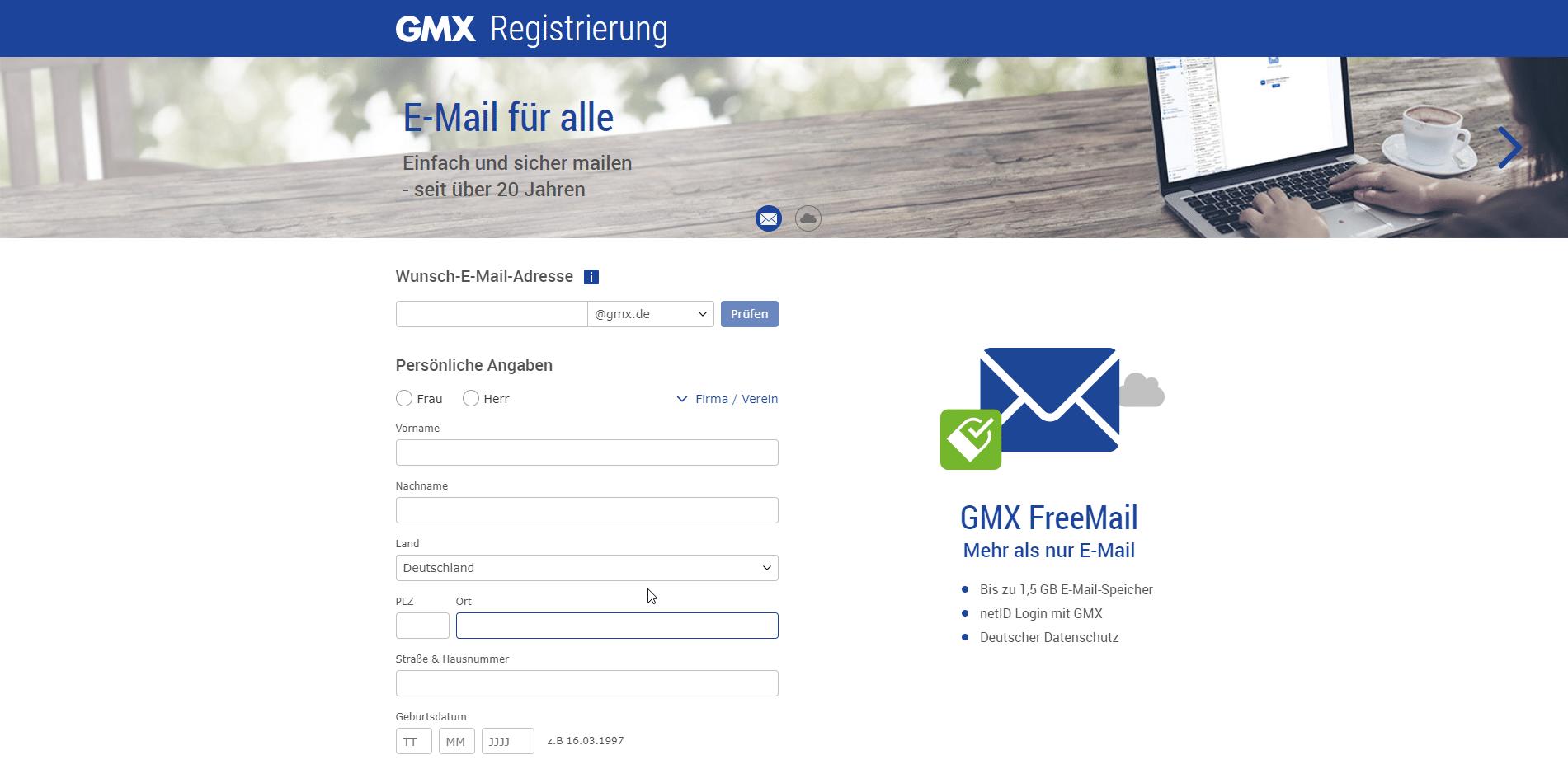 Anleitung Zur Erstellung Einer Kostenlosen GMX E-Mail